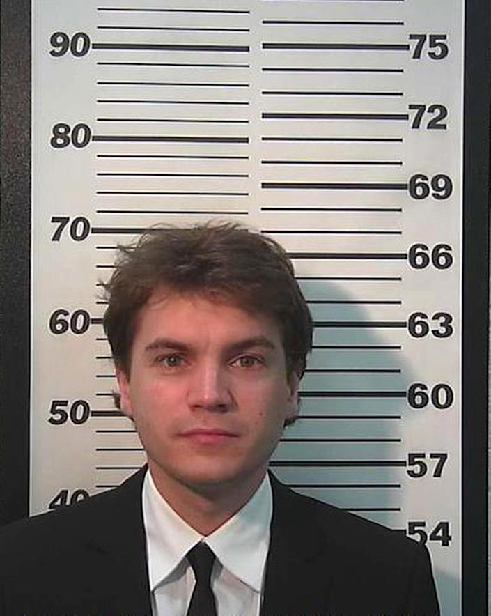 This Monday, March 16, 2015, booking photo provided by Summit County Sheriff's Department in Park City, Utah, shows Actor Emile Hirsch. Hirsch made his first court appearance on Monday, after being charged with assault after putting a studio executive in a chokehold and dragging her across a nightclub table while he was in Utah for the Sundance Film Festival.  (AP Photo/Summit County Sheriff's Department)