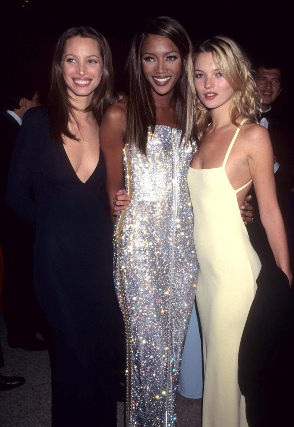 <p>Christy Turlington, Naomi Campbell and Kate Moss wear slip dresses and low-cut gowns for the 1995 Costume Institute Gala</p>