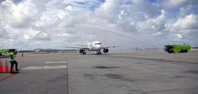 Jet Blue water cannon salute