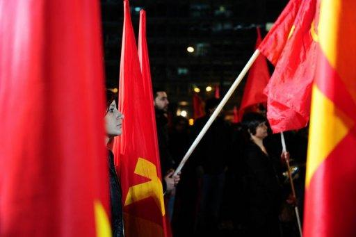 Greek communists party demonstrate  in Athens against the austerity measures being imposed in return for rescue funds