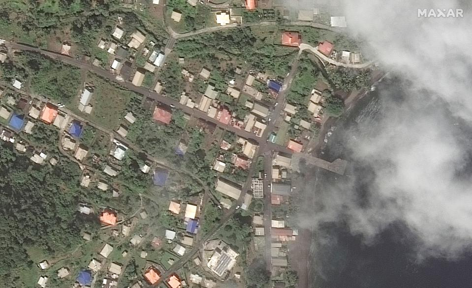 <p>The Richmond Vale waterfront in St Vincent on 2 April, before the La Soufriere volcano erupted</p> (via Reuters)