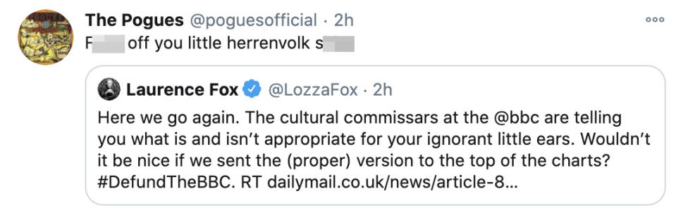 The Pogues responded to Laurence Fox's tweet. (Twitter)