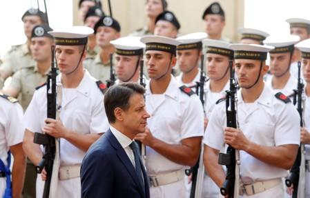 Italian PM Conte arrives at Chigi Palace in Rome