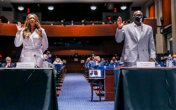 PHOTO: Lancaster, California City Council member Angela Underwood Jacobs, left, and George Floyd's brother Philonise Floyd, right, are sworn in for a House Judiciary Committee hearing, June 10, 2020, in Washington, D.C. (Michael Reynolds/Pool via AFP/Getty Images)