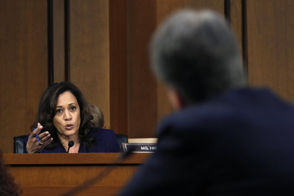 Sen. Kamala Harris, D-Calif., left, questions President Donald Trump's Supreme Court nominee, Brett Kavanaugh, in the evening of the second day of his Senate Judiciary Committee confirmation hearing, on Sept. 5, 2018. (Jacquelyn Martin/AP)