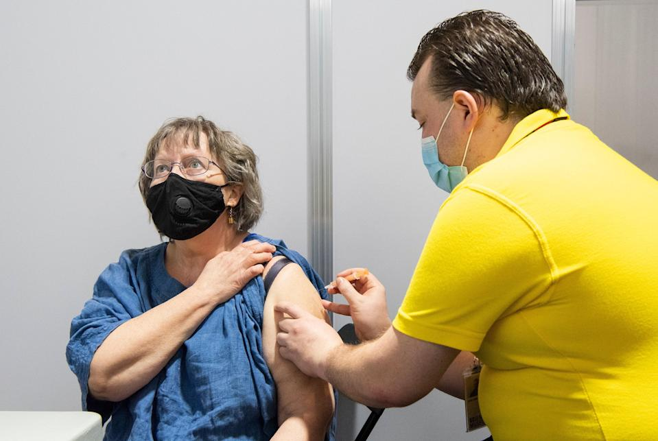 <p>A patient getting the Covid vaccine at the Science Museum</p> (Science Museum)