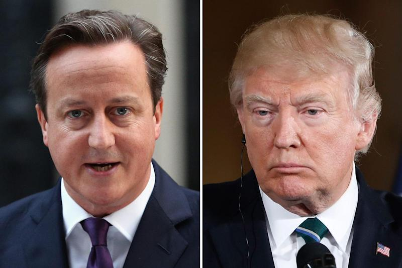 Joke: David Cameron said he no longer has to listen to Donald Trump's 'wiretapped' conversations