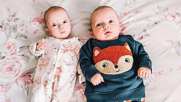 Photo: Twins Noah and Rosalie were born on the same day, but they were conceived at different times.  (Courtesy Rebecca Roberts)