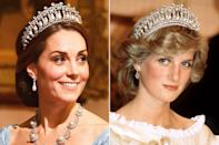 <p>The stunning tiara, worn by both Princess Diana and Kate Middleton, was originally commissioned from famous court jewelers Garrard by Queen Mary sometime in 1913 or 1914. When Queen Mary died in 1953, she left the tiara to her granddaughter, the Queen, who wore it with style during many formal appearances throughout the '50s. </p>