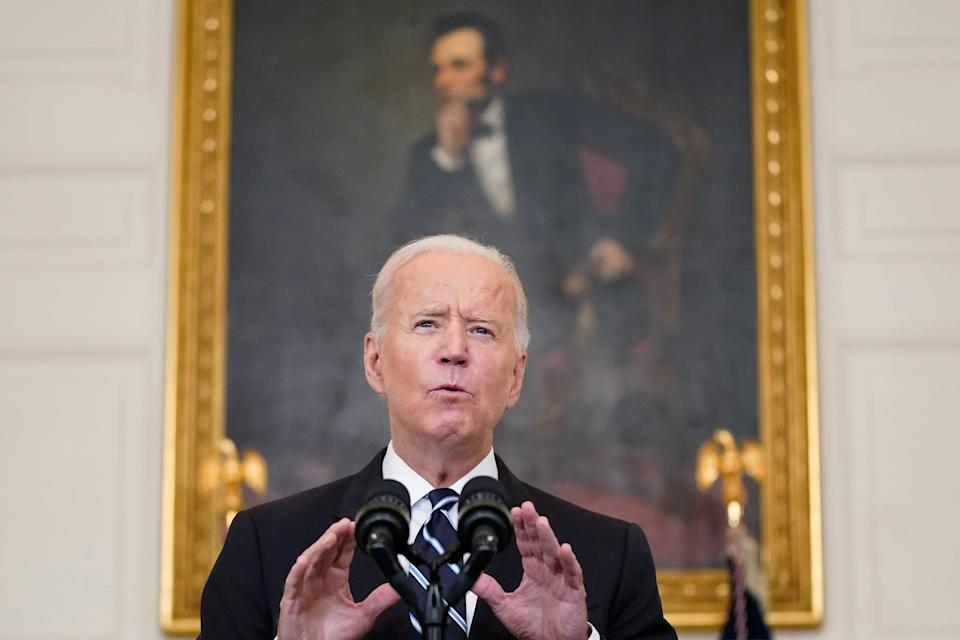 President Joe Biden speaks in the State Dining Room at the White House on Sept. 9, 2021, in Washington. Biden announced sweeping new federal vaccine requirements affecting as many as 100 million Americans in an all-out effort to increase COVID-19 vaccinations and curb the surging delta variant.