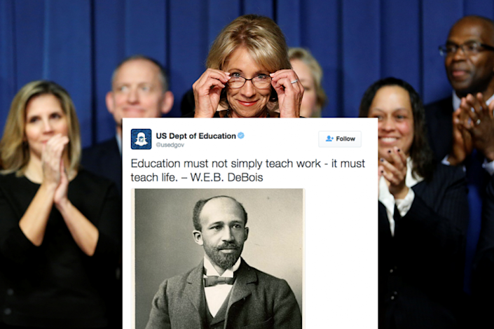 Betsy DeVos and the misspelled tweet. (DeVos: Jonathan Ernst/Reuters; illustration by Yahoo News)
