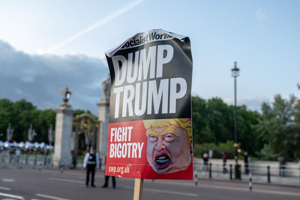 Protests over Donald Trump's state visit outside Buckingham Palace. The first of a three day State visit on June 3, 2019 in London, England (Photo by Robin Pope/NurPhoto via Getty Images)