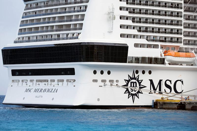 13 Cruise liner MSC Meraviglia is berthed at a dock in Punta Langosta, in Cozumel
