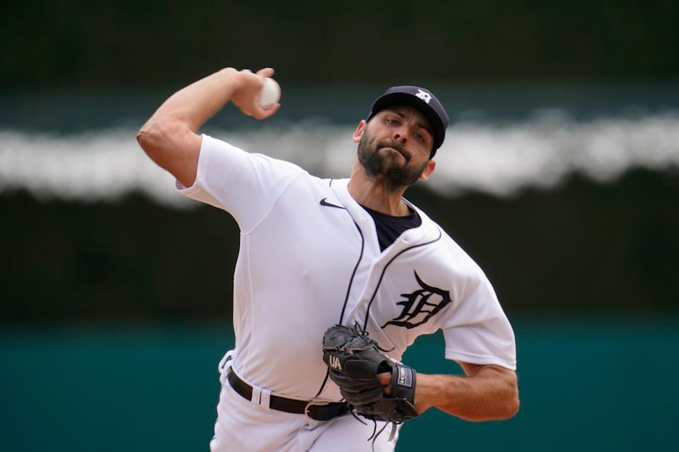 Detroit Tigers pitcher Michael Fulmer throws against the Pittsburgh Pirates in the first inning during the first game of a doubleheader in Detroit, Wednesday, April 21, 2021.