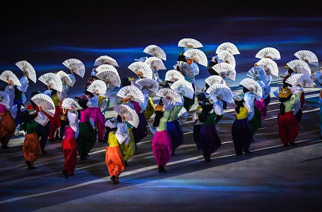 <p>Dancers perform during the closing ceremony of the Pyeongchang 2018 Winter Olympic Games at the Pyeongchang Stadium on February 25, 2018. / AFP PHOTO / Christof STACHE </p>
