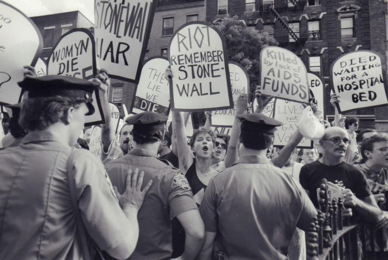 AIDS activists protest at Stonewall monument in NYC in 1989 (Erica Berger / Newsday via Getty Images)