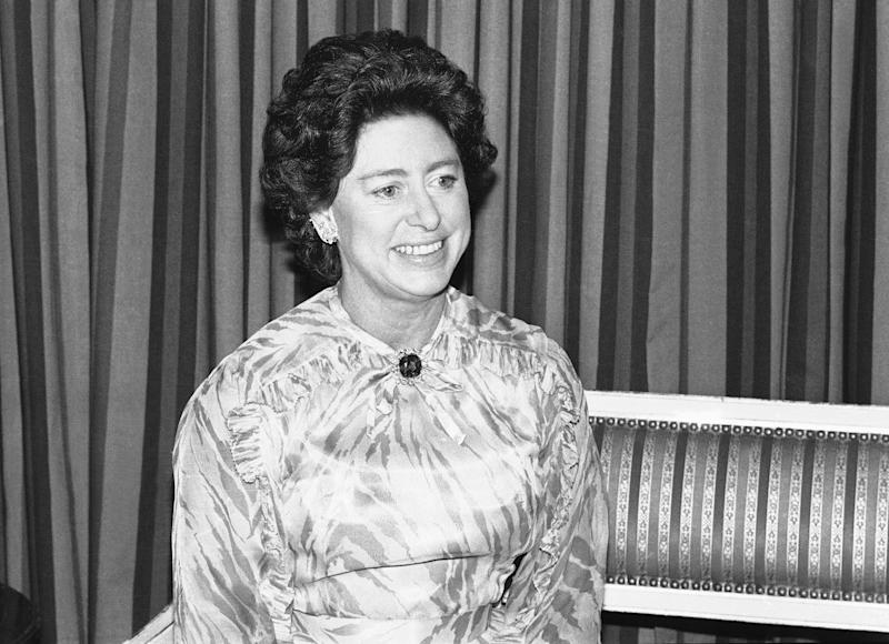 Princess Margaret of England talks with reporters during a press conference in Chicago, Illinois on Oct. 12, 1979. (AP Photo/Fred Jewell)