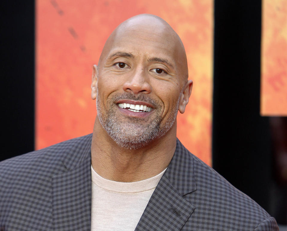"SEPTEMBER 28th 2020: Actor Dwayne ""The Rock"" Johnson endorses Joe Biden in the 2020 presidential election - his first ever public political backing of a candidate. - File Photo by: zz/KGC-254/STAR MAX/IPx 2018 4/11/18 Dwayne The Rock Johnson at the European premiere of ""Rampage"" held on April 11, 2018 at Cineworld Leicester Square. (London, England, UK)"