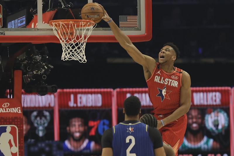 Giannis Antetokounmpo of the Milwaukee Bucks dunks during the first half of the NBA All-Star basketball game Sunday, Feb. 16, 2020, in Chicago. (AP Photo/Nam Huh)