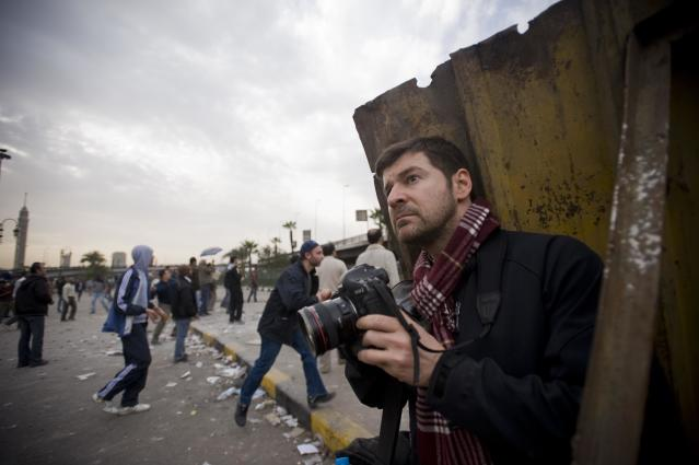Chris Hondros in Cairo, 2011. (Photo courtesy of Scout Tufankjian)
