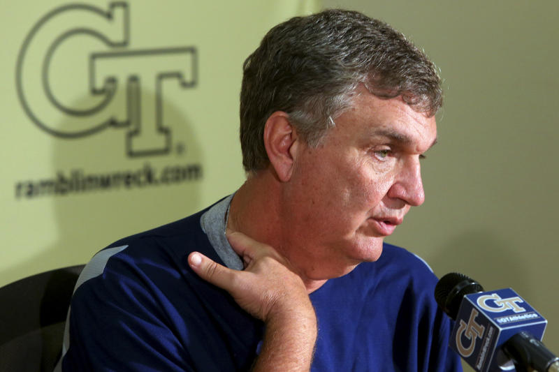 Georgia Tech head coach Paul Johnson speaks during an NCAA college football news conference after announcing that defensive coordinator Al Groh has been fired, Monday, Oct. 8, 2012, in Atlanta. The move comes two days after Georgia Tech (2-4, 1-3 Atlantic Coast Conference) lost 47-31 to Clemson. The previous week, Georgia Tech gave up 49 points in an embarrassing loss to Middle Tennessee. (AP Photo/Atlanta Journal-Constitution, Curtis Compton) MARIETTA DAILY OUT; GWINNETT DAILY POST OUT; LOCAL TV OUT; WXIA-TV OUT; WGCL-TV OUT