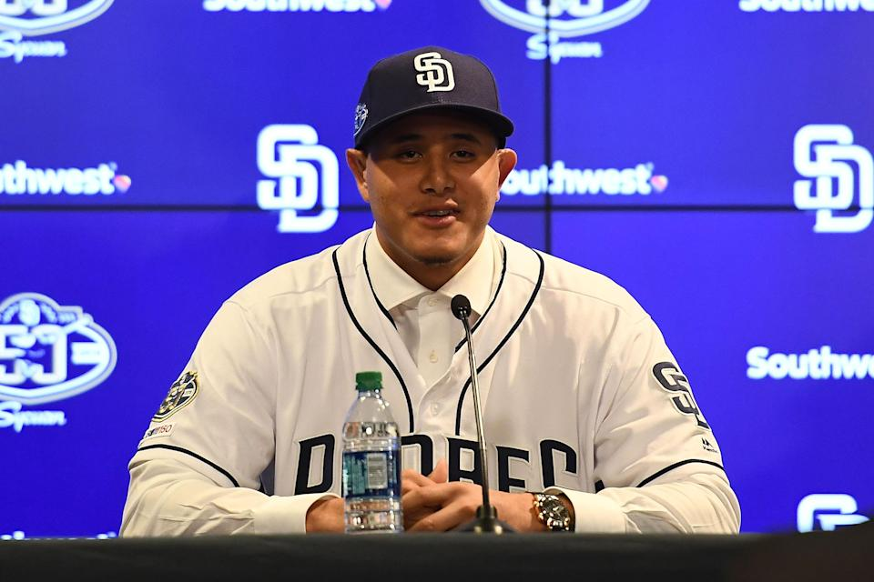 The tablecloth from Manny Machado's introductory press conference with the Padres is now on sale as part of a baseball relic card, courtesy of Topps. (Photo by Jennifer Stewart/Getty Images)