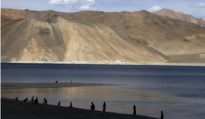 About 5,000 Chinese troops have been deployed in eastern Ladakh, including at Pangong Lake (pictured). Photo: AP