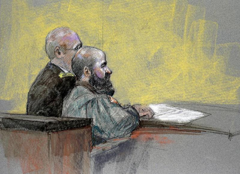 In this courtroom sketch, Maj. Nidal Hasan, right, appears at the Lawrence William Judicial Center during the sentencing phase of his trial, Tuesday, Aug. 27, 2013, in Fort Hood, Texas. The jury found Hasan unanimously guilty on the 13 charges of premeditated murder in the 2009 Fort Hood shooting, and he is eligible for the death penalty. (AP Photo/Brigitte Woosley)