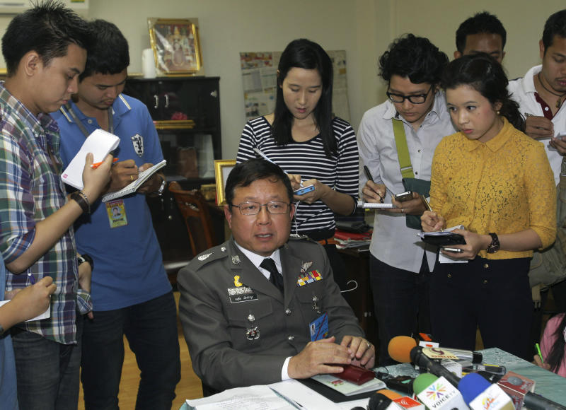 Deputy Metropolitan Police Commissioner Anuchai Lekbamroong answers questions from reporters regarding the arrest of Vorayuth Yoovidhya, a grandson of the creator of the Red Bull energy drink, at the headquarters of the Metropolitan Police Bureau in Bangkok, Thailand on Tuesday, Sept. 4, 2012. Vorayuth was arrested for driving the Ferrari that struck a police officer and dragged his dead body down a Bangkok street in an early-morning hit-and-run, police said Monday. (AP Photo/Sakchai Lalit)