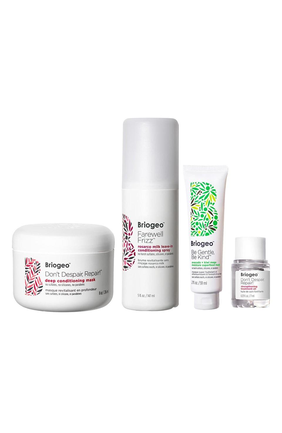 """<p><strong>Briogeo </strong></p><p>nordstrom.com</p><p><a href=""""https://go.redirectingat.com?id=74968X1596630&url=https%3A%2F%2Fwww.nordstrom.com%2Fs%2Fbriogeo-healthy-hair-wonders-set-75-value%2F5912861&sref=https%3A%2F%2Fwww.harpersbazaar.com%2Fbeauty%2Fg36991550%2Fnordstrom-anniversary-sale-beauty-deals%2F"""" rel=""""nofollow noopener"""" target=""""_blank"""" data-ylk=""""slk:Shop Now"""" class=""""link rapid-noclick-resp"""">Shop Now</a></p><p><strong>Sale: $49</strong></p><p><strong>Value: $75</strong> </p><p>Briogeo's Healthy Hair Wonders set includes the award-winning Don't Despair, Repair mask, which has been clinically proven to reduce hair breakage in just three showers. The set also includes Briogeo's Farwell Frizz, which helps make hair look and feel softer; a travel-sized Scalp Revival that detoxifies and reduces build-up and flakiness; and a travel-sized Avocado + Kiwi Mega Moisture Superfood Hair Mask to bring dry hair back to life.</p>"""