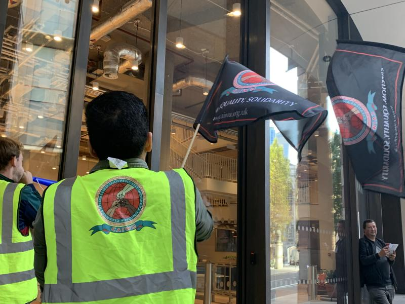 WeWork faced a protest outside one of its office spaces in central London. Photo: Yahoo Finance UK / Tom Belger