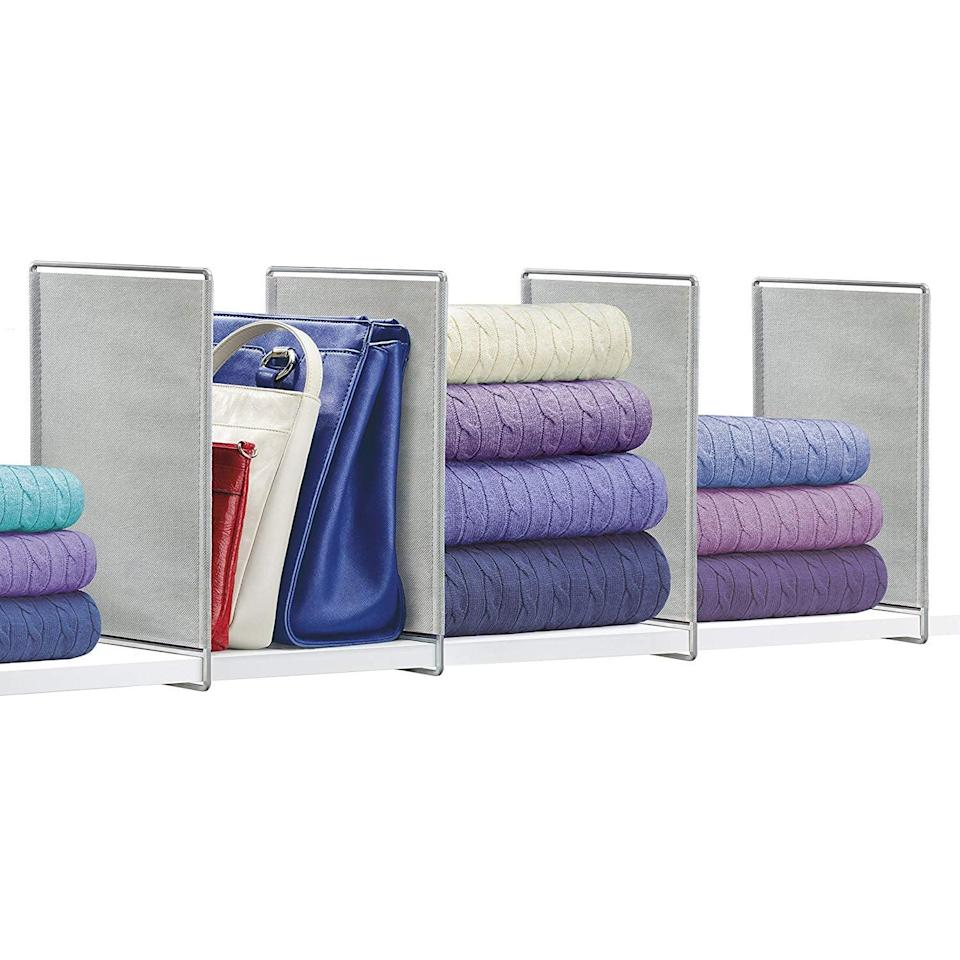 <p>This <span>Lynk Vela Shelf Dividers Closet Shelf Organizer</span> ($10 for 2) will create an organizational system on your top shelf. It's the perfect place to store folded sweatshirts and sweaters.</p>