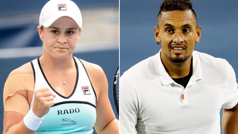 Ash Barty, pictured here, shone in Cincinnati after Nick Kyrgios shamed himself. Image: Getty