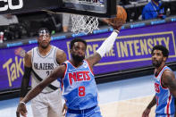 Brooklyn Nets forward Jeff Green dunks during the first half of the team's NBA basketball game against the Portland Trail Blazers, Friday, April 30, 2021, in New York. (AP Photo/Mary Altaffer)