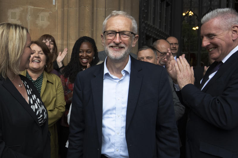 Labour Leader Jeremy Corbyn (centre) celebrates with the Shadow Cabinet and Labour MPs as they welcome newly-elected Labour Member of Parliament Lisa Forbes (left) to Parliament in Westminster, London, following her victory in the Peterborough by-election.