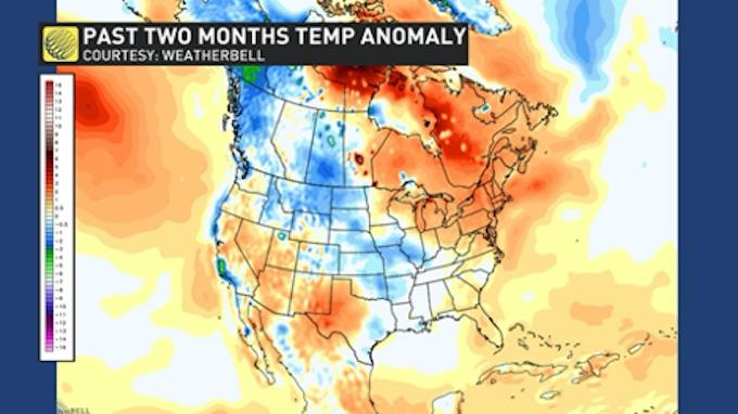 Past two months temperature anomaly