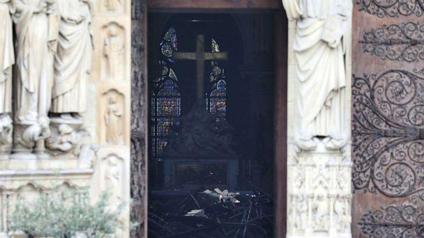 PHOTO: Charred debris inside Notre-Dame-de Paris in the aftermath of a fire that devastated the cathedral in Paris, April 16, 2019. (Ludovic Marin/Reuters)