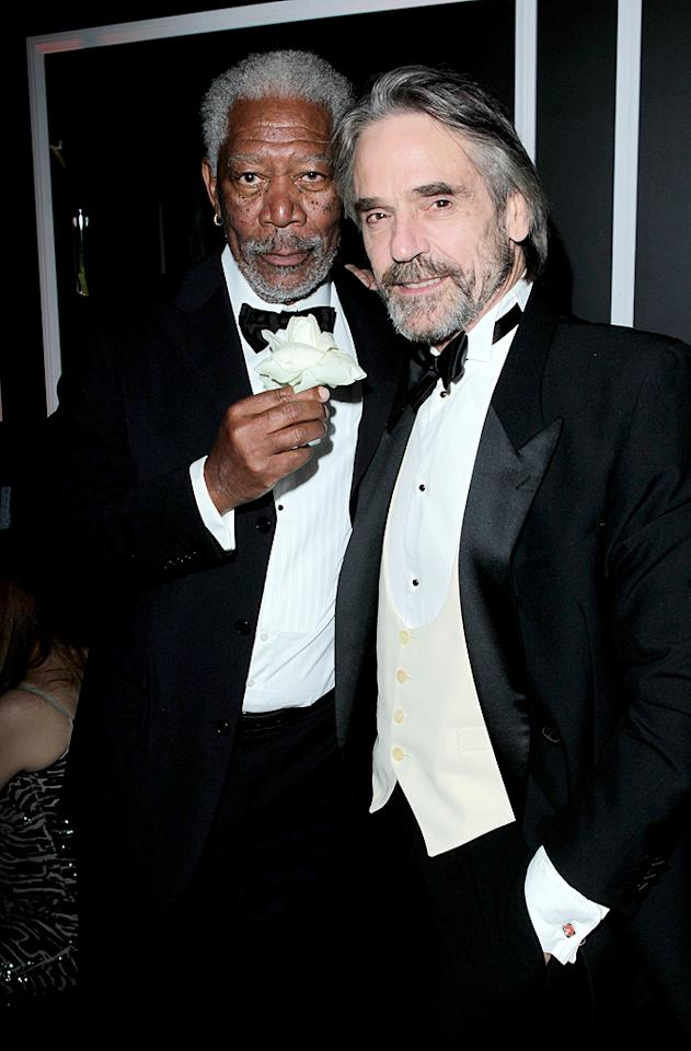 BEVERLY HILLS, CA - JANUARY 15:  (L-R) Actors Morgan Freeman and Jeremy Irons attend The Weinstein Company's 2012 Golden Globe Awards After Party held at The Beverly Hilton hotel on January 15, 2012 in Beverly Hills, California.  (Photo by Jeff Vespa/Getty Images for TWC)