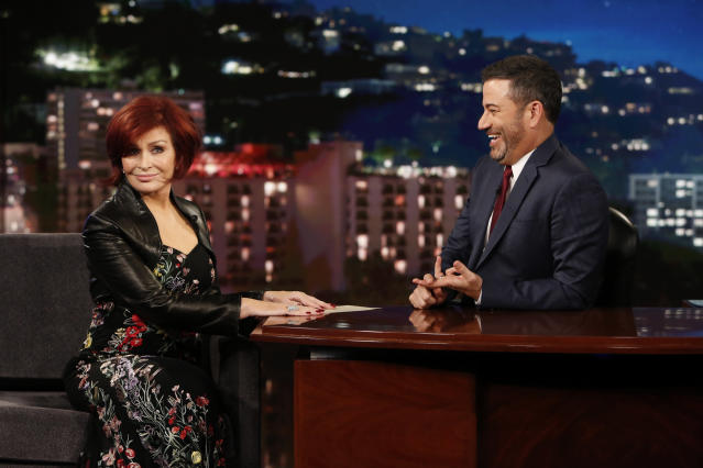 Sharon Osbourne was interviewed by Jimmy Kimmel on Jimmy Kimmel Live! (Randy Holmes/ABC via Getty Images)