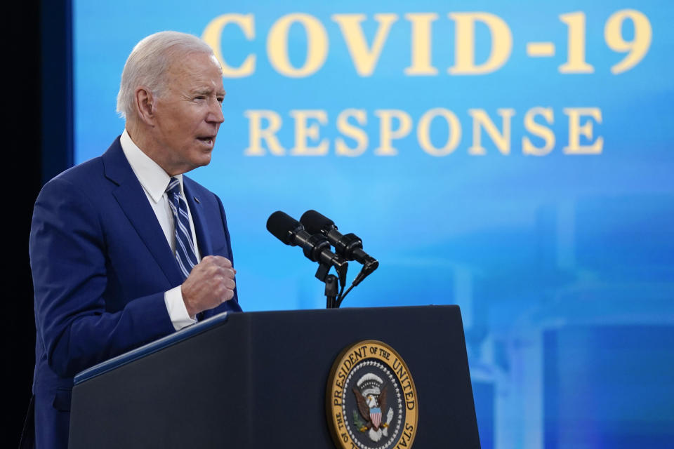 President Joe Biden speaks during an event on COVID-19 vaccinations and response, in the South Court Auditorium on the White House campus, Monday, March 29, 2021, in Washington. (AP Photo/Evan Vucci)