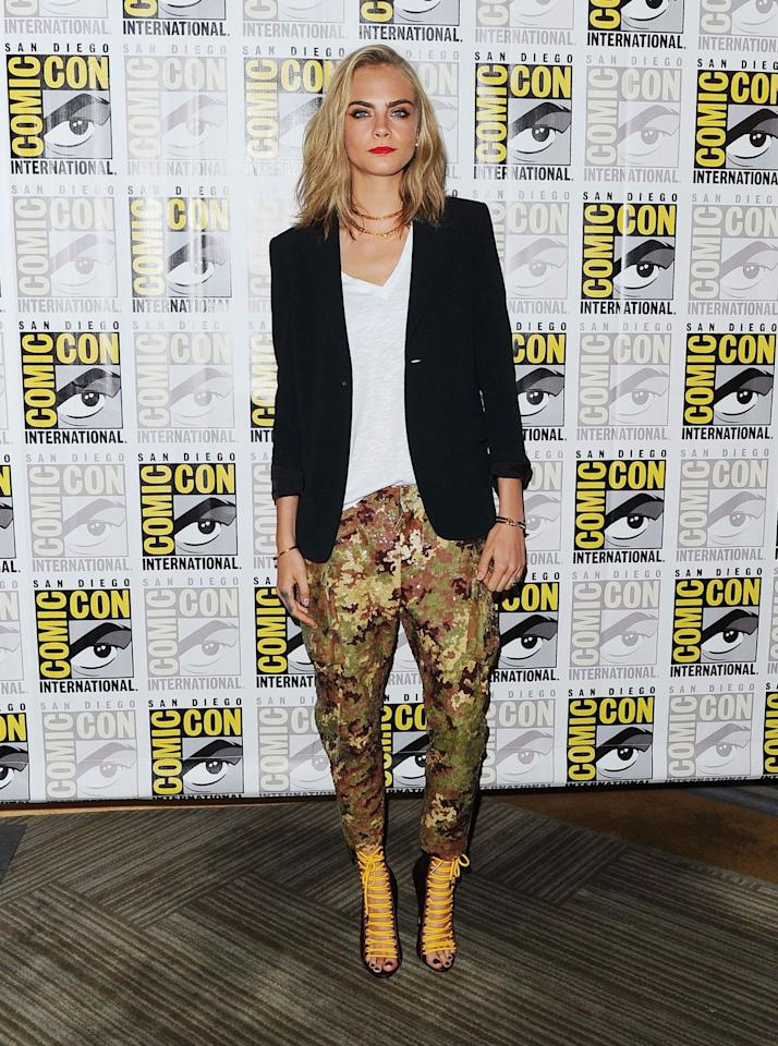 <p>The supermodel showed off her new hairdo in a Dsquared2 outfit as she promoted her film 'Valerian and the City of a Thousand Planets'. <i>[Photo: REX]</i></p>