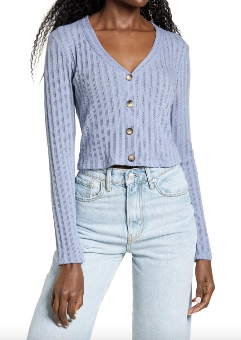 <p>Pair this <span>All In Favor Pointelle Crop Cardigan </span> ($35) with light blue jeans for a fresh visual contrast.</p>