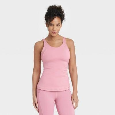 <p>This pink <span>All in Motion Scoop Back Tank Top with Shelf Bra</span> ($20) is adorable.</p>