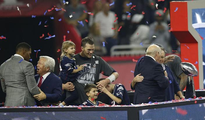 <p>The star quarterback's children, Benjamin, Jack and Vivian, joined their father on the field in 2017 to help him celebrate yet another milestone win. Bucket list goals!</p>