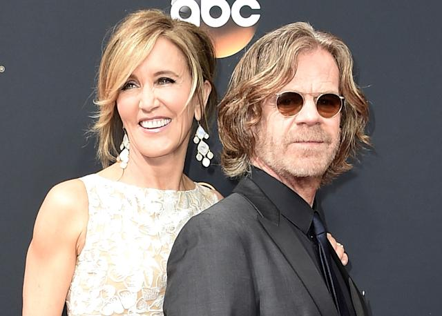 Felicity Huffman and husband William H. Macy are allegedly part of a widespread college entrance scandal. Huffman has been indicted; Macy was not. (Getty Images)