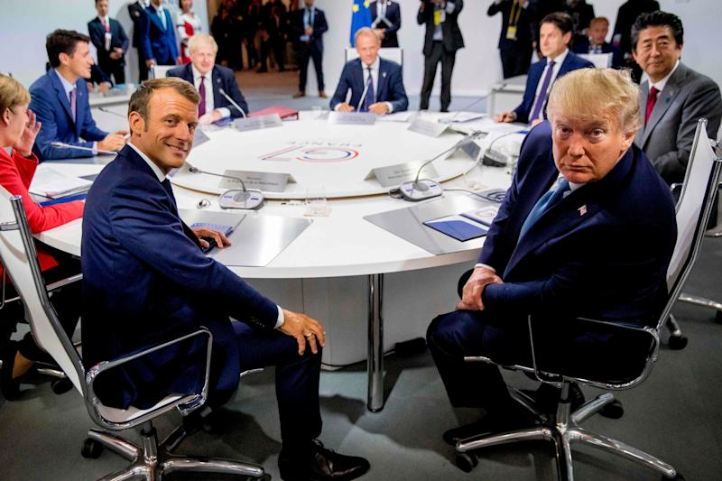 French President Emmanuel Macron and President Donald Trump attend a working session on