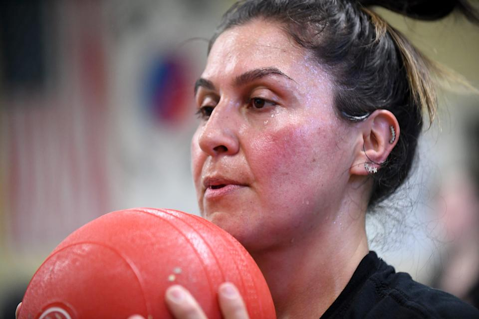 Maribel Landeros sweats through a workout at a gym south of Salinas one February 2020 morning. She said she pays particular attention to her physical health so she can adequately take care of her daughter Karizma who has disabilities.