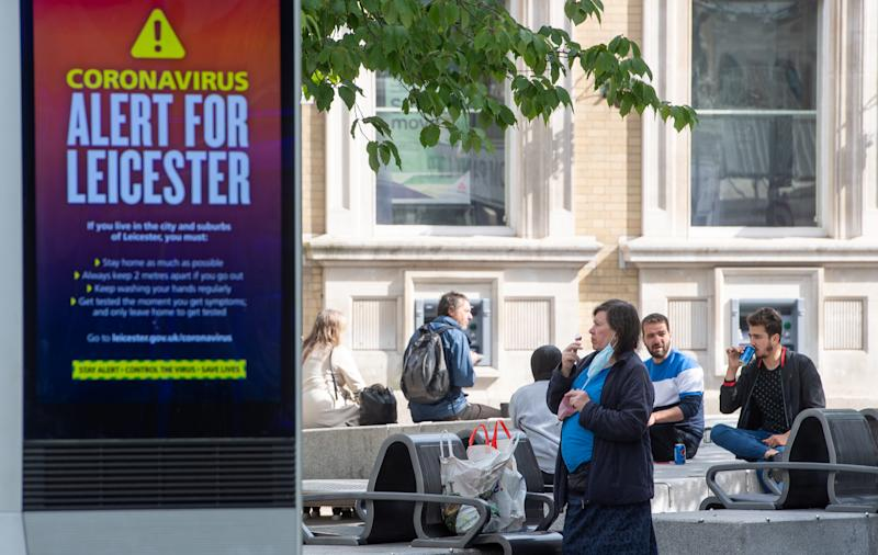 An NHS public safety message in Leicester after the Health Secretary Matt Hancock imposed a local lockdown following a spike in coronavirus cases in the city. (Photo by Joe Giddens/PA Images via Getty Images)