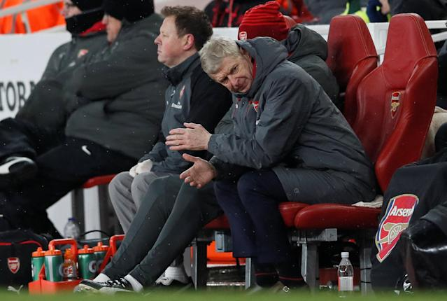 """Soccer Football - Premier League - Arsenal vs Manchester City - Emirates Stadium, London, Britain - March 1, 2018 Arsenal manager Arsene Wenger looks dejected REUTERS/David Klein EDITORIAL USE ONLY. No use with unauthorized audio, video, data, fixture lists, club/league logos or """"live"""" services. Online in-match use limited to 75 images, no video emulation. No use in betting, games or single club/league/player publications. Please contact your account representative for further details."""
