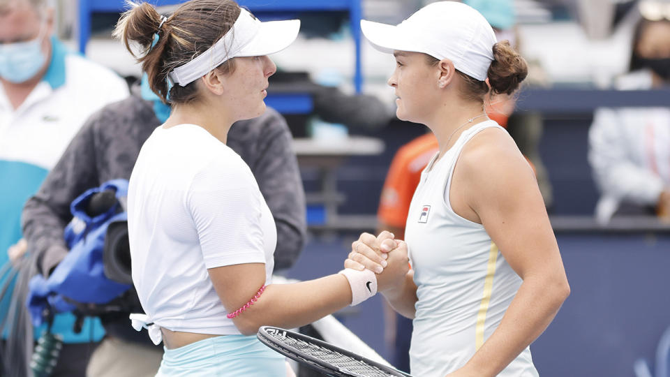 Bianca Andreescu shakes hands with Ash Barty after retiring during the final of the Miami Open. (Photo by Michael Reaves/Getty Images)